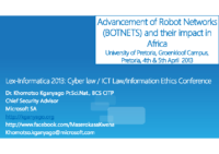 Advancement of Robot Networks (BOTNETS) and their impact in Africa