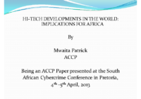 Hi-tech Developments Implications for Africa PP